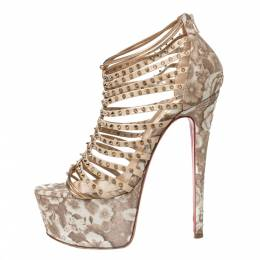 Christian Louboutin Beige/Gold Leather Spike Millaclou Cage Platform Sandals Size 38 303634