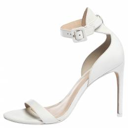 Sophia Webster White Leather Nicole Sandals Size 38 307037