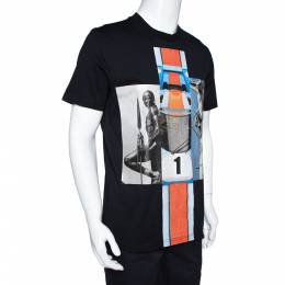 Givenchy Black Mix Print Cotton Crew Neck T-Shirt M 306804