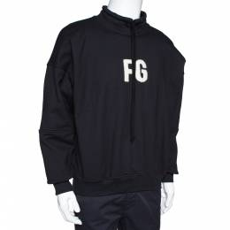 Fear Of God Sixth Collection Black Logo Appliqued Mock Neck Sweatshirt S 306809