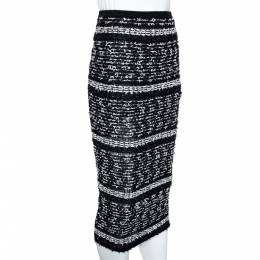 Roland Mouret Black Lurex Boucle Knit Gunby Fitted Skirt M 306230