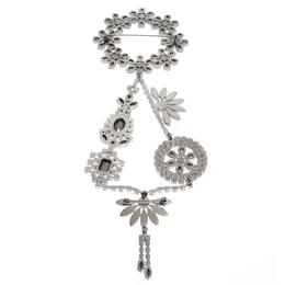 Burberry Daisy Wreath Crystal Silver Tone Brooch 306584
