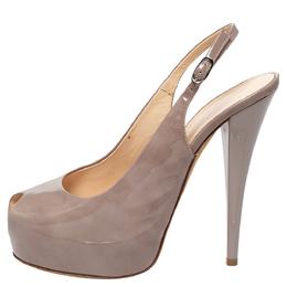 Giuseppe Zanotti Design Grey Patent Leather Peep Toe Slingback Platform Sandals Size 39 306566