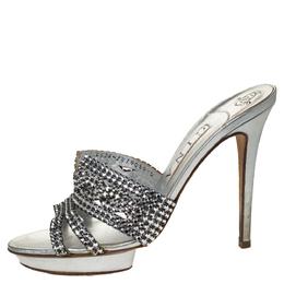 Gina Silver Crystal Embellished Leather Platform Sandals Size 39 306901