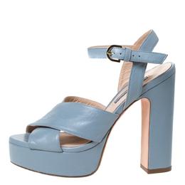 Stuart Weitzman Grey Leather Joni Platform Ankle Strap Sandals Size 38 306834