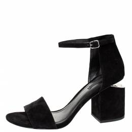 Alexander Wang Black Suede Leather Abbey Block Heel Ankle Strap Sandals Size 40 306829