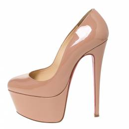 Christian Louboutin Beige Patent Leather Victoria Platform Pumps Size 36.5 306825