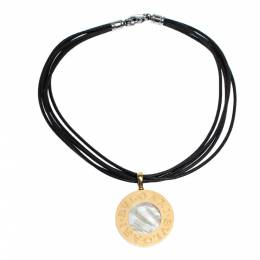 Bvlgari 18K Yellow Gold Steel MOP Onyx Pendant Leather Cord Necklace 306913