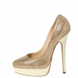 Jimmy Choo Gold Glitter Fabric And Embossed Leather Eros Platform Pumps Size 38 306368