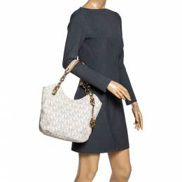 MICHAEL Michael Kors Cream Coated Canvas and Leather Jet Set Travel Chain Shoulder Bag 306127