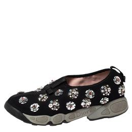 Dior Black Floral Embellished Mesh Fusion Slip On Sneakers Size 38 303330