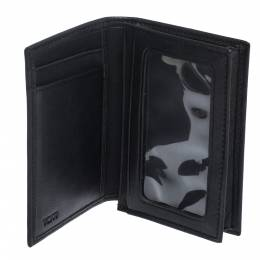 Tumi Black Leather Gussetted ID Card Case 306972