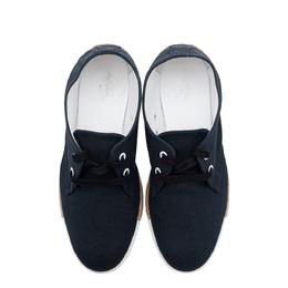 Hermes Navy Blue Suede Rosa Espadrille Sneakers 287304