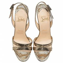 Christian Louboutin Gold Leather Fine Romance 120 Sandals Size 38 281156