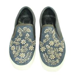 Dior Blue Crystal Embellished Dark Wash Denim And Leather Happy Slip On Sneakers 281213