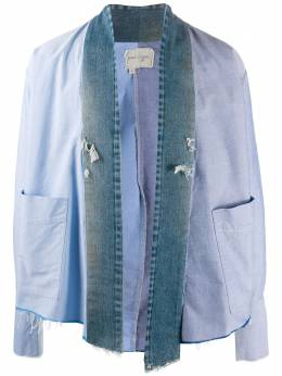 Greg Lauren куртка со вставками из денима AM067