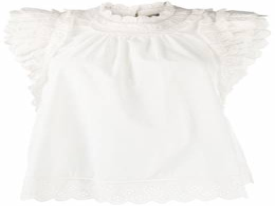Sea блузка с английской вышивкой и оборками PF2075