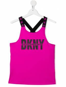 DKNY Kids топ с логотипом и перекрещивающимися бретелями D35R03