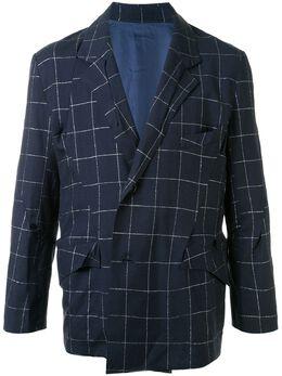 Sulvam клетчатый пиджак свободного кроя SMJ06200