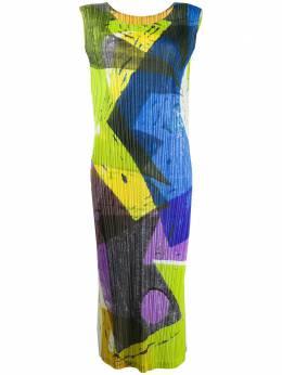Pleats Please Issey Miyake плиссированное платье с абстрактным принтом PP08JH695