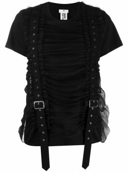 Comme Des Garcons Noir Kei Ninomiya футболка со сборками и пряжками 3FT00105113