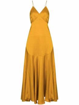 Khaite расклешенное платье миди на тонких бретелях 5144444WASHEDLINENVISCOSE