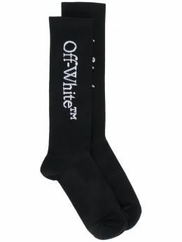 Off-White носки с вышитой надписью OWRA003F20KNI0011001