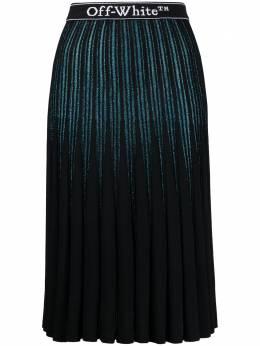 Off-White плиссированная юбка с блестками OWHL009E20KNI0014501