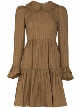 Batsheva ярусное платье мини Lucy в клетку гингем BHW0060S