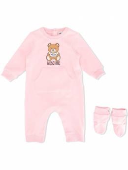 Moschino Kids комплект для новорожденного Teddy с логотипом MUT01MLDA14