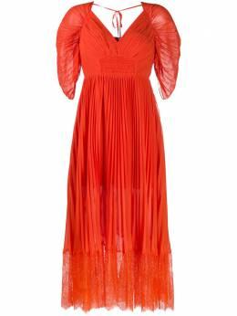 Self-Portrait плиссированное платье миди PF20056A