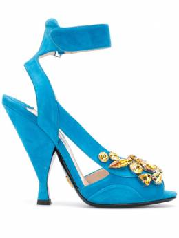 Prada Pre-Owned босоножки с открытым носком и кристаллами CSLM0720PRASHO