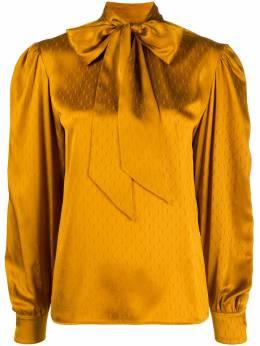 Saint Laurent блузка с бантом и монограммой 642360Y8B58