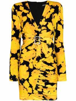 Richard Quinn бархатное платье мини с цветочным принтом и пряжкой RQAW201A
