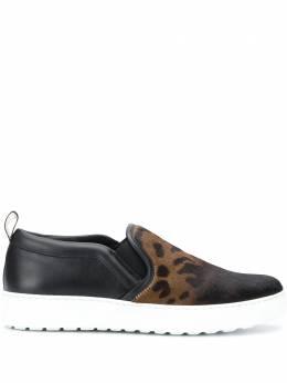 Salvatore Ferragamo Pre-Owned кроссовки-слипоны с леопардовым принтом SB03081