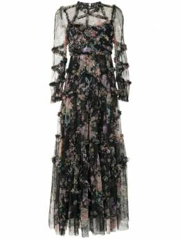 Needle & Thread платье с цветочным принтом и оборками DGLS03RPF20