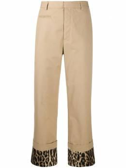 R13 брюки с леопардовым принтом и подворотами R13W7758463