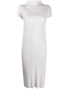 Pleats Please Issey Miyake плиссированное платье миди с высоким воротником PP08JH166