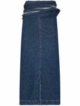 Y / Project джинсовая юбка миди с запахом WSKIRT43S19