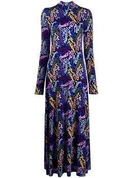 M Missoni платье макси с высоким воротником и логотипом 2DG004262J003N
