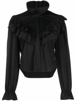 Vetements блузка с высоким воротником и оборками WAH21SH946