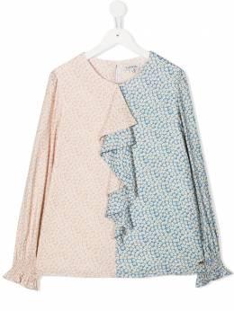 Lanvin Enfant блузка с цветочным принтом и отделкой N15011