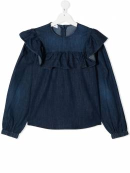 Dondup Kids джинсовая блузка с оборками YC190DS0278G