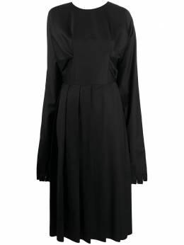 Natasha Zinko платье миди с плиссировкой и манжетами-перчатками PF2010701