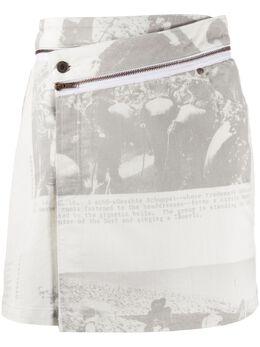 Ottolinger джинсовая юбка асимметричного кроя с запахом AW19SK01