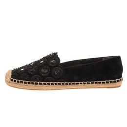 Tory Burch Black Suede Leather Yasmin Embellished Slip On Espadrille Flats Size 38.5 323084