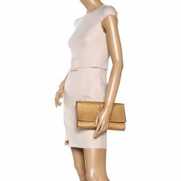 Saint Laurent Cream Patent Leather Belle de Jour Flap Clutch 323176