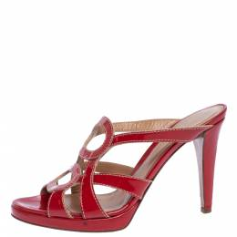 Sergio Rossi Red Patent Leather Slide Sandals Size 38.5 321539