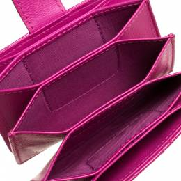 Dior Fuchsia Cannage Patent Leather Lady Dior Gusset Card Case 322992
