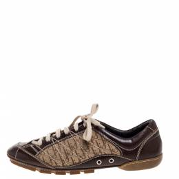 Dior Brown Leather and Diorissimo Canvas Low Top Sneakers Size 37 323019